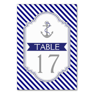 Naby blue anchor nautical wedding table number card