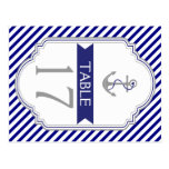 Naby blue anchor nautical wedding table number postcards