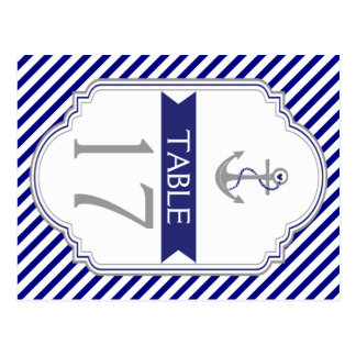 Naby blue anchor nautical wedding table number postcard