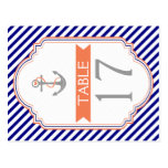 Naby blue, coral nautical wedding table number postcards