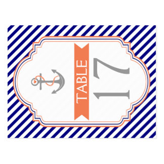 Naby blue, coral nautical wedding table number postcard