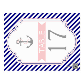 Naby blue, pink nautical wedding table number postcard