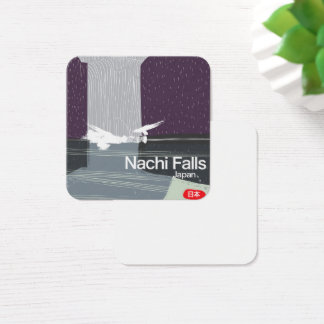 Nachi Falls Japan vintage style travel poster Square Business Card