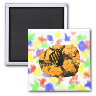 Nacho crackers and spatula pic 2 inch square magnet