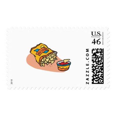 nachos and salsa dip postage stamps by doonidesigns