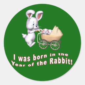 Nací en el año de las camisetas del conejo pegatinas redondas