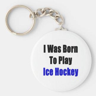 nací jugar a hockey sobre hielo llavero redondo tipo pin