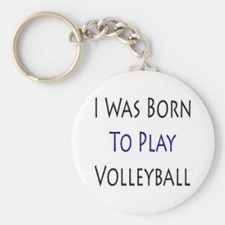 Nací jugar a voleibol llavero redondo tipo pin