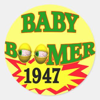 Nacido en el baby boom 1947 pegatina redonda