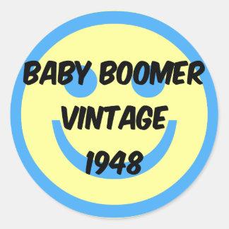 nacido en el baby boom 1948 etiqueta redonda