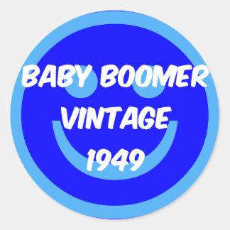 nacido en el baby boom 1949 pegatina redonda