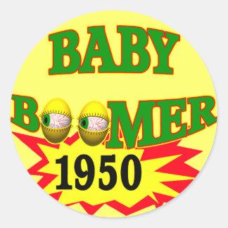 Nacido en el baby boom 1950 pegatina redonda