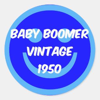 nacido en el baby boom 1950 etiqueta redonda
