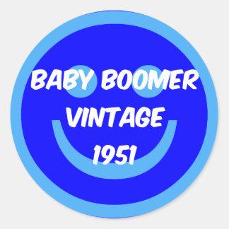 nacido en el baby boom 1951 pegatina redonda