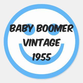 nacido en el baby boom 1955 etiqueta redonda