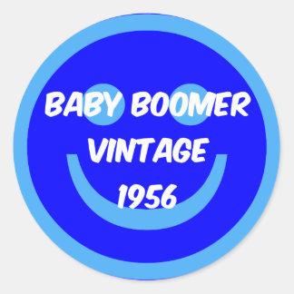 nacido en el baby boom 1956 etiqueta redonda