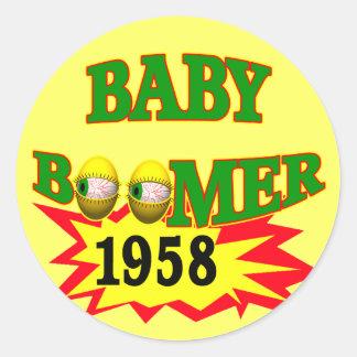 Nacido en el baby boom 1958 pegatina