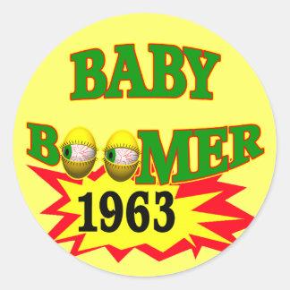 Nacido en el baby boom 1963 pegatina redonda