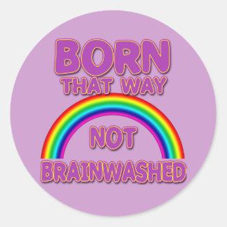 Nacido que manera, camisetas no lavadas el pegatina redonda