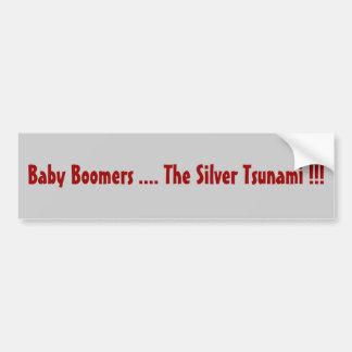 Nacidos en el baby boomes…. ¡El tsunami de plata!! Etiqueta De Parachoque