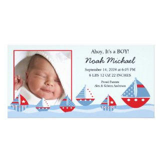 Nacimiento Annoucement del bebé de los veleros Plantilla Para Tarjeta De Foto