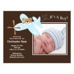 Nacimiento azul Annoucement del bebé del aeroplano Anuncio Personalizado