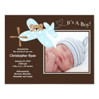 Nacimiento azul Annoucement del bebé del aeroplano Invitación 10,8 X 13,9 Cm