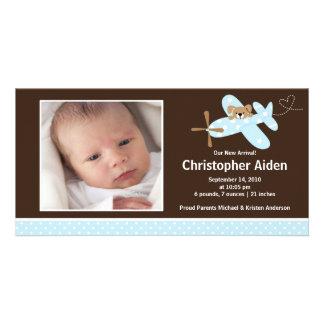 Nacimiento azul Annoucement del bebé del aeroplano Tarjetas Personales Con Fotos