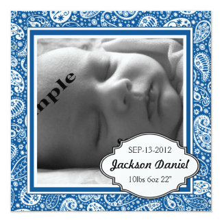 Nacimiento azul y fiesta de bienvenida al bebé de invitación 13,3 cm x 13,3cm