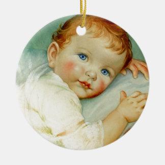 Nacimiento/cumpleaños del bebé adorno navideño redondo de cerámica