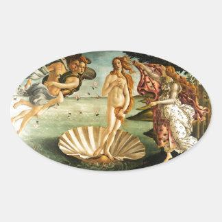 Nacimiento de Botticelli de la pintura del arte Pegatinas De Óval