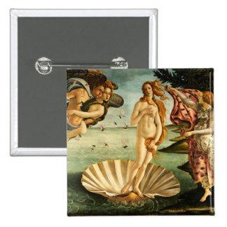 Nacimiento de Botticelli del arte del vintage del Pin Cuadrada 5 Cm
