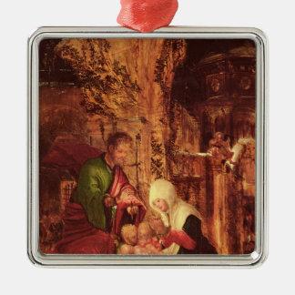Nacimiento de Cristo, c.1520-25, Adorno Cuadrado Plateado