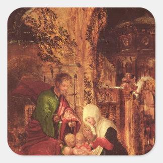 Nacimiento de Cristo c 1520-25 Calcomanía Cuadradas