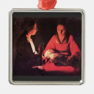Nacimiento de Cristo de Georges de La Tour Adorno Cuadrado Plateado