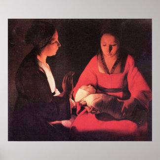 Nacimiento de Cristo de Georges de La Tour Póster