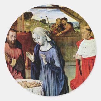 Nacimiento de Cristo y el Rolin cardinal de Jean e Etiquetas Redondas