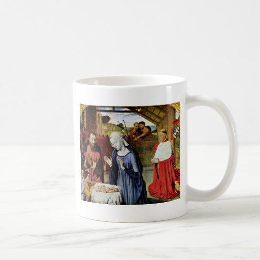 Nacimiento de Cristo y el Rolin cardinal de Jean e Taza Básica Blanca