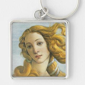 Nacimiento de la bella arte de Venus Botticelli Llavero Cuadrado Plateado