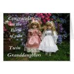 Nacimiento de la enhorabuena de sus nietas gemelas tarjetón