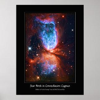 Nacimiento de la estrella en el Cygnus de la const Poster