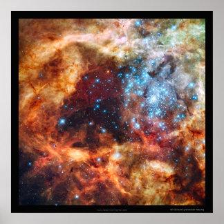 Nacimiento de la frontera del negro de la nebulosa póster