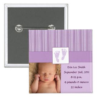 Nacimiento de las huellas del bebé - púrpura pin cuadrado