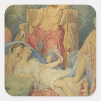 Nacimiento de las musas de Jean Auguste Dominique Pegatina Cuadrada