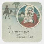 Nacimiento de los saludos del navidad de Jesús Colcomanias Cuadradas