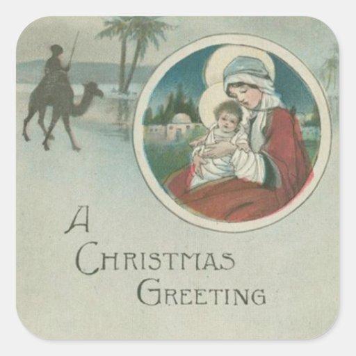 Nacimiento de los saludos del navidad de Jesús Colcomanias Cuadradases