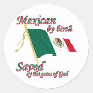 Nacimiento de Mexicanby ahorrado por la gracia de Pegatina Redonda