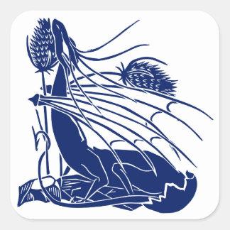 """""""Nacimiento de un dragón"""" - profundamente azul - Pegatina Cuadrada"""