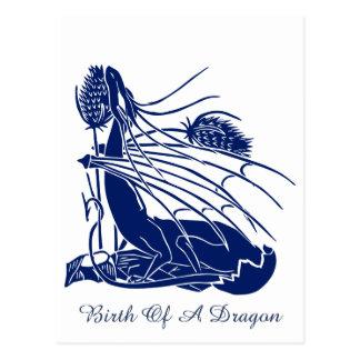 """""""Nacimiento de un dragón"""" - profundamente azul - Postales"""