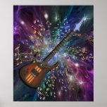 Nacimiento de un poster de la música del espacio d